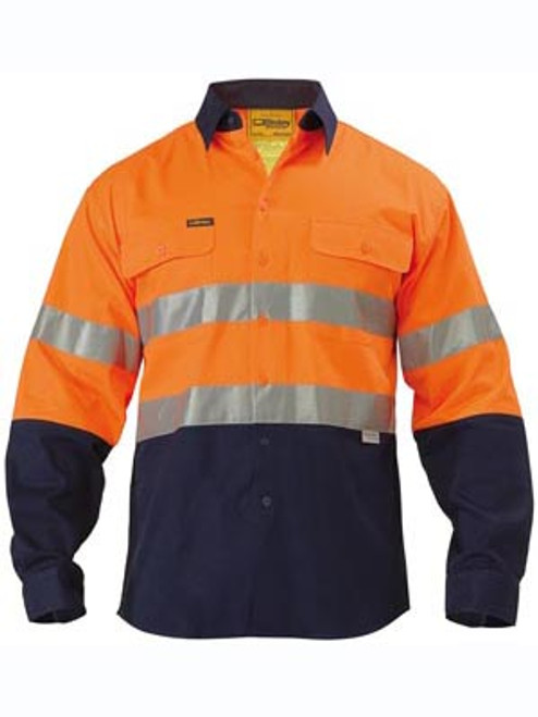 Bisley 2 Tone Orange/Navy Long Sleeve Open Front Drill Shirt with Reflective Tape