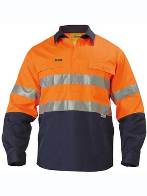Bisley 2 Tone Orange/Navy Long Sleeve Closed Front Drill Shirt with Reflective Tape