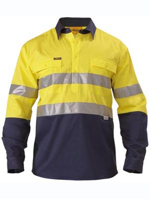 Bisley 2 Tone Yellow/Navy Long Sleeve Closed Front Drill Shirt with Reflective Tape
