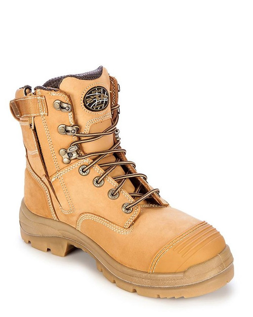 Oliver Lace Up and Zip Side Wheat Safety Boot 55332Z