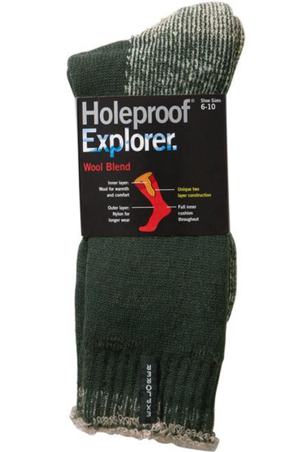 Holeproof Explorer Wool Blend Sock in Bottle Green