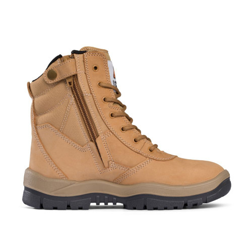 Mongrel Safety 7 Hole Zipside Lace Up Boots in Wheat 251050