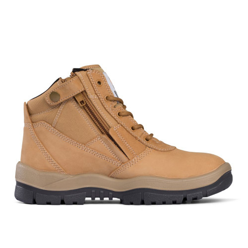 Mongrel Safety 5 Hole Zipside Lace Up Boots in Wheat 261050