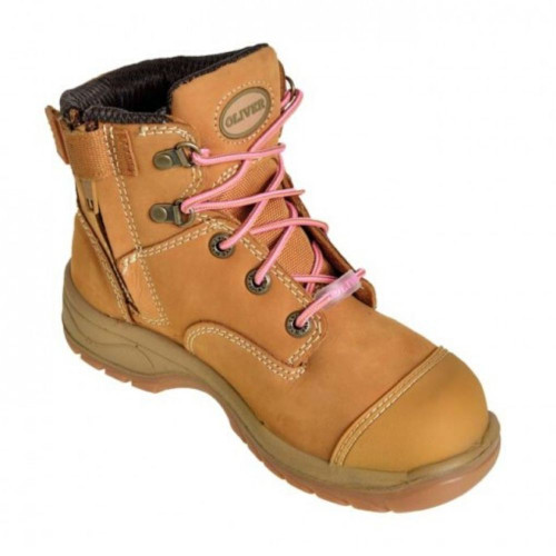Oliver Ladies Zip Sided Steel Toe Boots in Wheat 49432Z