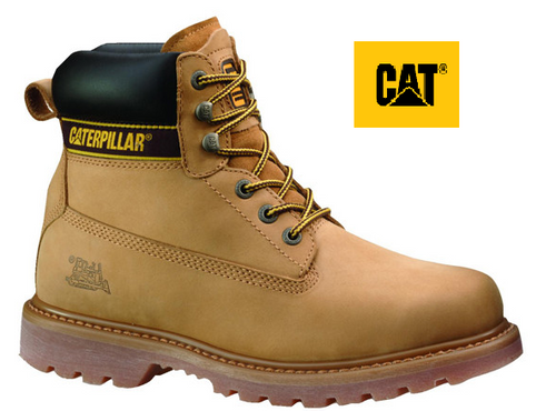 CAT Holton ST Aus Steel Toe Boots in Honey P708230 (Wide Fit)