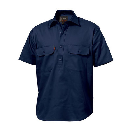 King Gee K04060 Closed Front Drill Shirt Short Sleeve in Navy