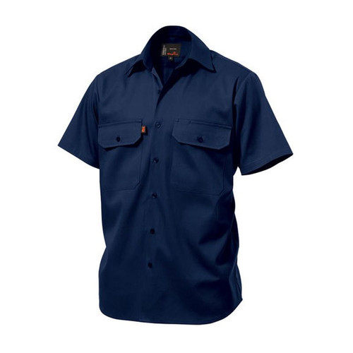 King Gee K04030 Open Front Drill Shirt Short Sleeve in Navy