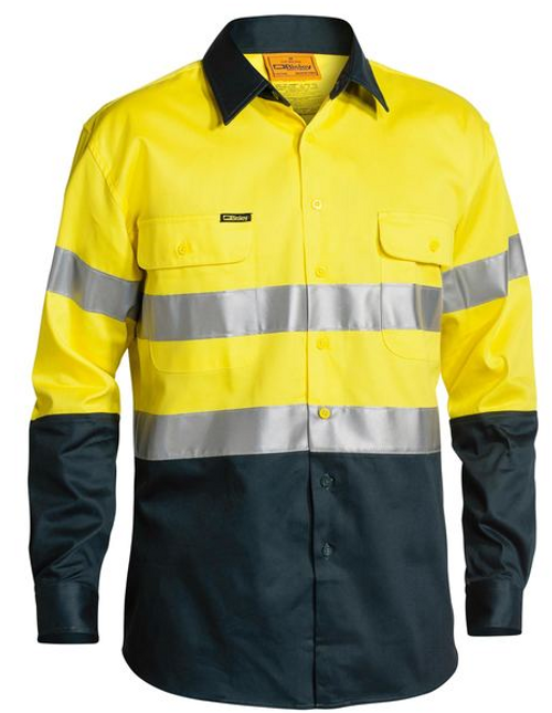 Bisley 2 Tone Yellow/Bottle Long Sleeve Open Front Drill Shirt with Reflective Tape