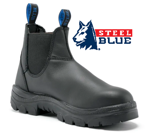 Steel Blue Hobart Elastic Side TPU/Non Safety Boots in Black 310101