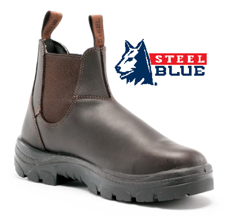 Steel Blue Hobart Elastic Side TPU/Non Safety Boots in Winter Brown 310101