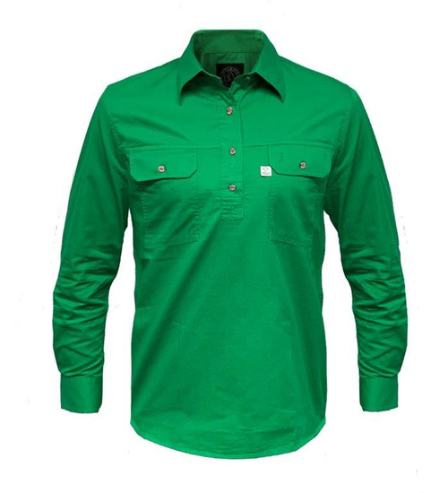 Ritemate RMPCAC02 Ladies Australian Cotton Shirts (Closed Front/Long Sleeve) Emerald (Bulk Deal, Buy 4 for $49.95 Each!)