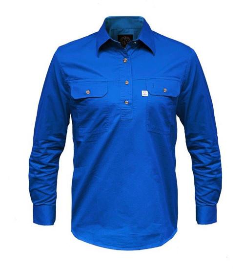 Ritemate RMPCAC02 Ladies Australian Cotton Shirts (Closed Front/Long Sleeve) Cobalt (Bulk Deal, Buy 4 for $49.95 Each!)