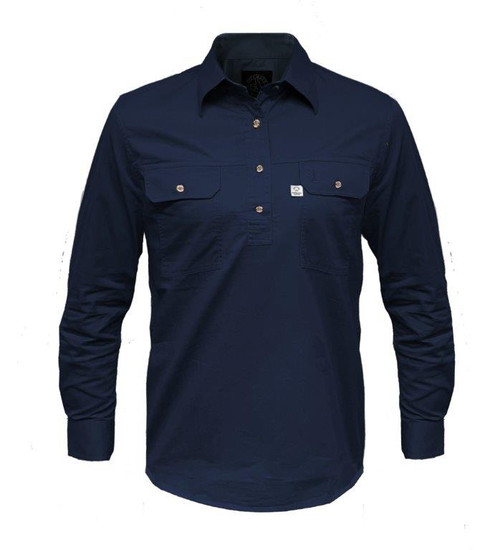 Ritemate RMPCAC02 Ladies Australian Cotton Shirts (Closed Front/Long Sleeve) French Navy (Bulk Deal, Buy 4 for $49.95 Each!)