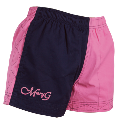 """Mary G Ladies """"Old School"""" - Australian Cotton - Harlequin Shorts in French Navy-Blossom Pink"""