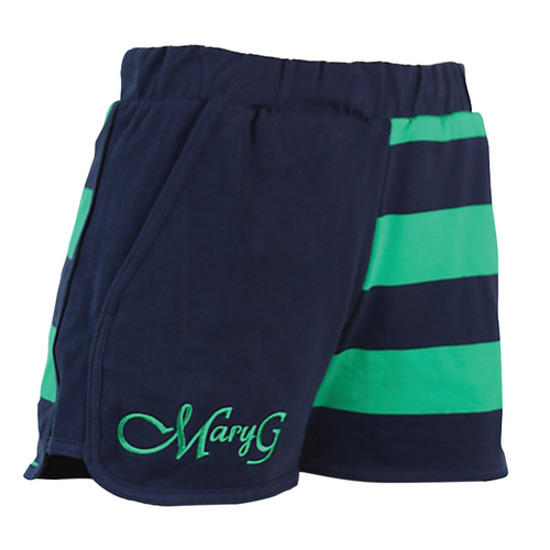 """Mary G Ladies """"Fave"""" Jersey Shorts in French Navy-Emerald"""
