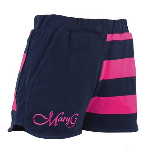 """Mary G Ladies """"Fave"""" Jersey Shorts French Navy-Fuschia"""