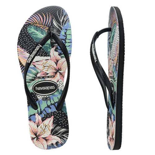 Havaianas Slim Floral Dots Black Thongs