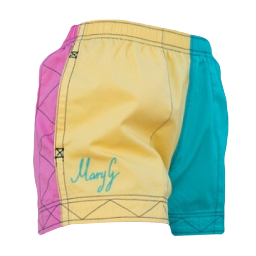 """Mary G Ladies """"Old School"""" Signature Harlequin Shorts in Sun Flower-Turquoise-Musk"""