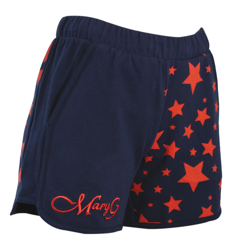 """Mary G Ladies """"Fave"""" Jersey Shorts - French Navy-Coral Stars"""