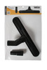 Black 14 inch wide base carpet brush with 1.25 inch neck in a retail pack.
