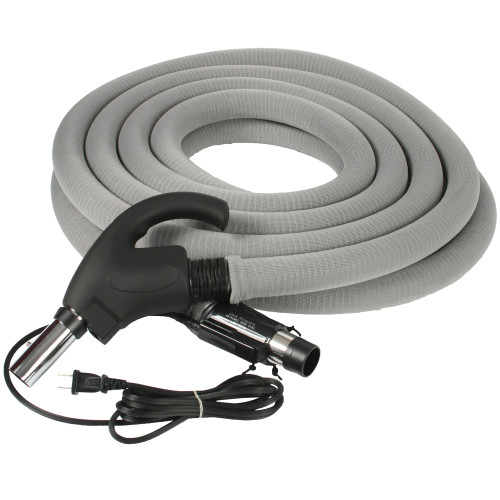 Central Vacuum 35 Foot Universal Connect Electric Hose with Hose Sock & Button Lock Stub Tube