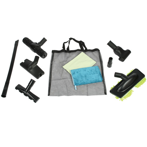 Clean home vacuum accessories kit including flexible crevice tool, green microfiber glass cleaning towel, blue microfiber dusting mitt, sofa tool with velvet nozzle thread collector, fit all black vibrating upholstery tool, mattress tool, dust-up mophead nozzle with microfiber green dust fringe, black compact hand twin 3, adaptor, and mesh caddy bag.