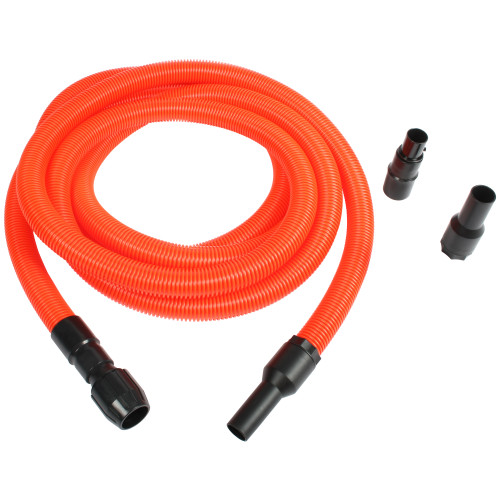 Orange extension hose with multiple cuffs to fit almost any tool or vacuum.