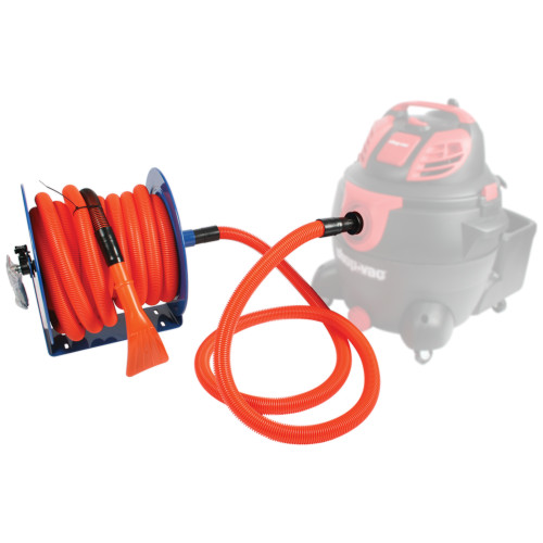 Hose reel with 1.25 inch by 50 foot hose and 6 foot connecting hose.