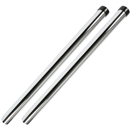 Two chrome 19 inch friction fit unslotted wands with black nylon collar.
