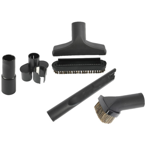 Accessory tool pack including wand clip on tool caddy, standard crevice tool, standard dusting brush, standard upholstery nozzle, upholstery slide on brush and 1.25 inch to 1.375 inch converter.