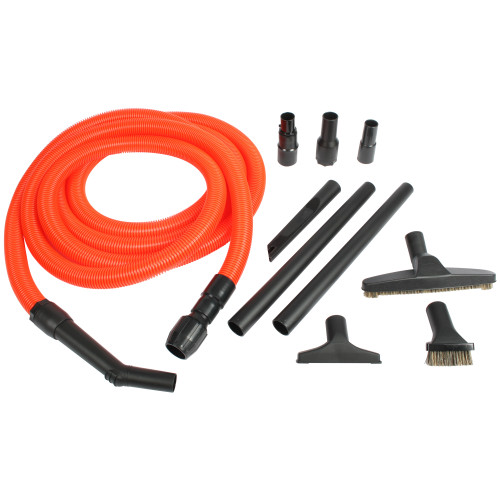 Deluxe universal extension hose and accessories for stairs and floors.