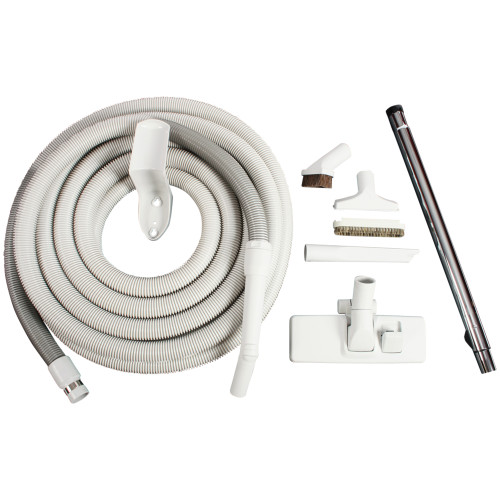 Gray 35 Ft. Central Vacuum Attachment Kit with Multi-Surface Combination Nozzle & Wand