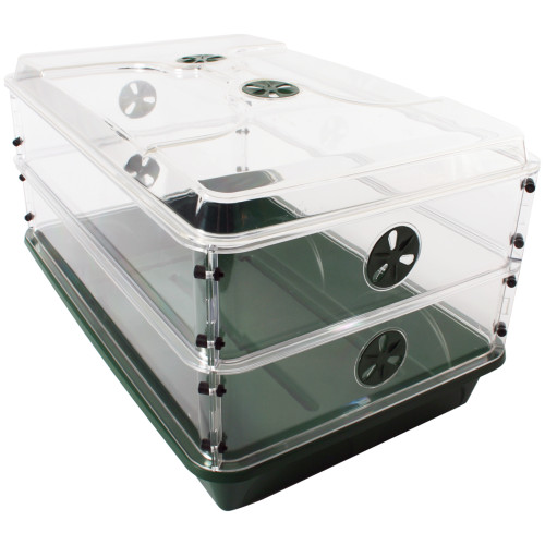 "EarlyGrow 93807 24"" x 15"" x 12.75"" Domed Propagator with 2 Height Extenders, Green"