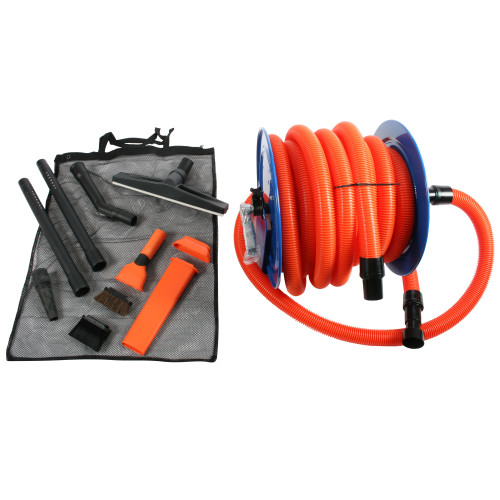 Commercial Hose Reel, 50 Ft. Vacuum Hose, & Detailing Accessories for use with Shop Vacuums & Commercial Auto Detailer Vacuums