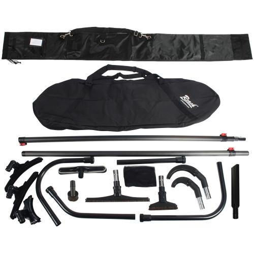 25 Ft. High Reach Vacuum Attachment Kit with 2 Carbon Fiber Poles & Carry Bag, Black