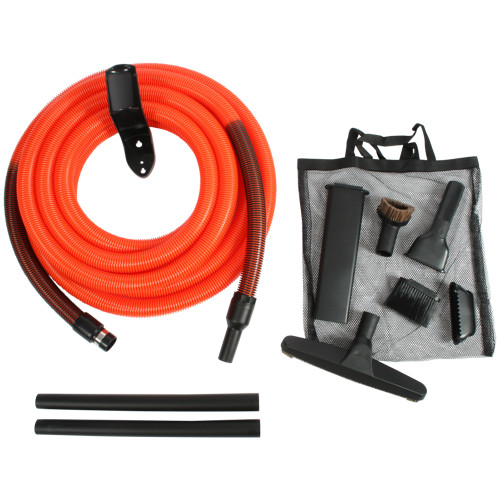 Central Vacuum Garage & Car Cleaning Kit with 1.25 Inch Commercial Grade Vacuum Hose