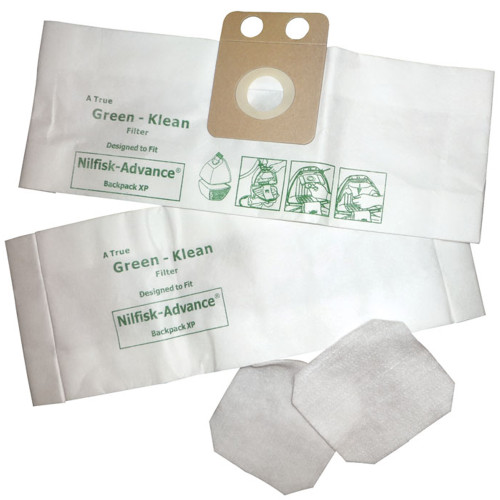 Ten Package of 10 Bags & 2 Filters Designed to Fit Nilfisk-Advance Backuum & XP Vacuums
