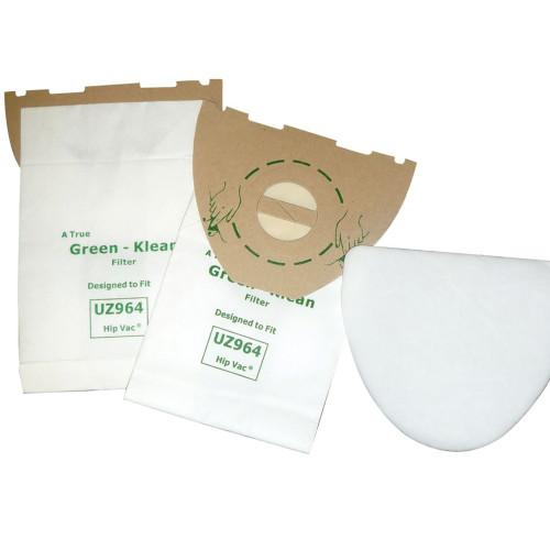 10 Packs of 10 Vacuum Bags & 2 Filters for Nilfisk-Advance & Kent Euroclean UZ964 Hip Vac
