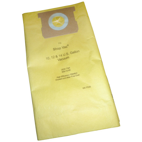 5 Packs of 2 10-14 Gallon High Efficiency 770-25 Replacement Vacuum Bags