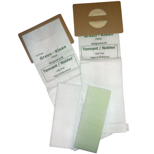 10 Packs of 10 Bags and 2 Filters for Tennant - Nobles LiteTrac,Viper & Whirlwind
