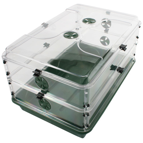 "Early Grow Oversized 24"" x 15"" x 12.75"" Domed Propagator with 2 Height Extenders & Locking Clip Set"