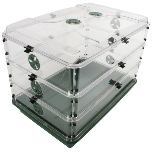 "24"" x 15"" x 16.75"" Domed Propagator with 3 Height Extenders & Locking Clip Set"