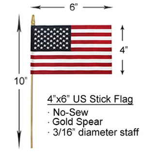 4x6 inch U.S. Stick Flags With Spear