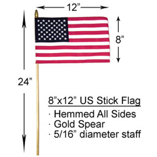 8x12 inch Hemmed U.S. Stick Flags With Spear