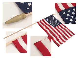 12x18 inch Hemmed Soft Cotton U.S. Stick Flags With Spear