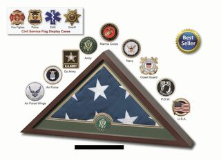 Military Flag Case With Folded Burial Flag