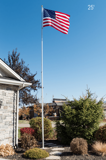 25 Foot 12 Gauge Telescoping Flagpole With FREE Flag