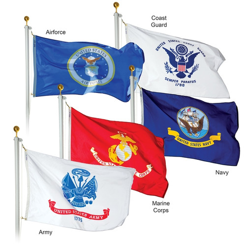 Complete Set 3'x5' 2 Ply Military Service Flags