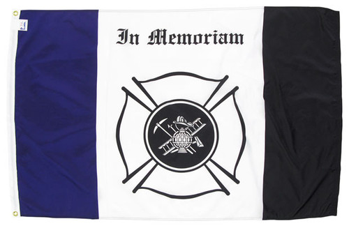 3'x5' Nylon Fireman Mourning Flag