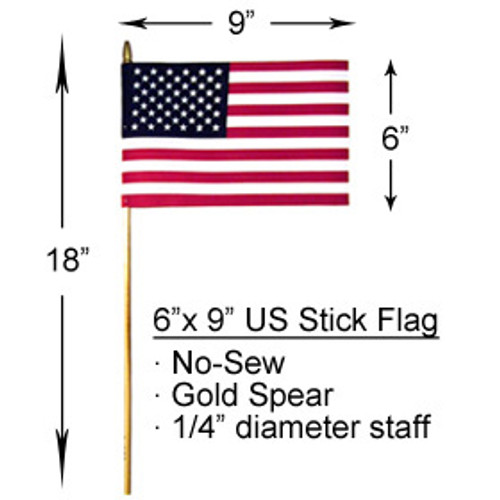 6x9 inch U.S. Stick Flags With Spear